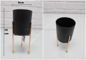 - sd21814 dekoratif metal ayaklı cam mumluk/saksı