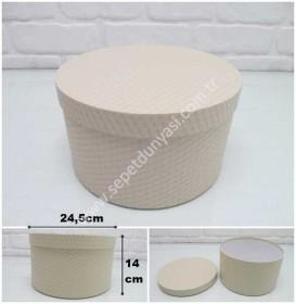 - sd26079 kırık beyaz renkli no9 kabartma desenli yuvarlak hediye&saklama kutusu