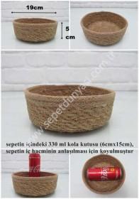 - sd26341 dekoratif ip + hasır yuvarlak sepet no:3