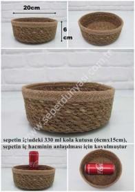 - sd26342 dekoratif ip + hasır yuvarlak sepet no:4