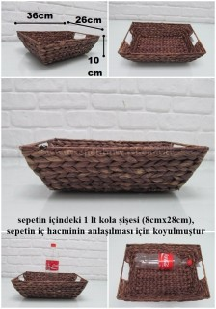 - sd27076 kahverengi dikdörtgen hasır sele sepet