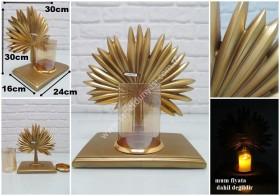 - sd29475 altın renkli polyester palmiye mumluk obje