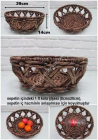 - sd30455 dekoratif kahverengi yuvarlak hasır sepet kase