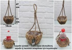 - sd30507 dekoratif makrome no1 hasır sepet çiçeklik