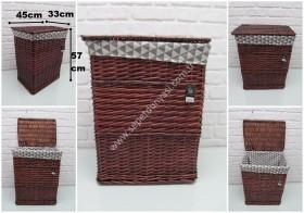 - sd31414 kahverengi no2 kapaklı kirli çamaşır sepeti
