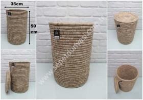 - sd31426 dekoratif kapaklı no1 yuvarlak hasır depolama sepeti (kirli çamaşır vs...)