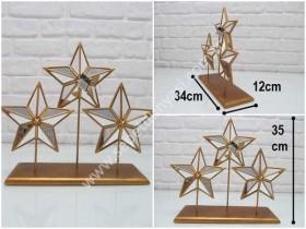 - sd31865 gümüş renkli aynalı,3 lü yıldız obje