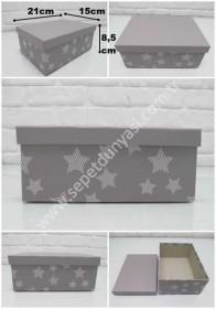 - sd33603 yıldız desenli no2 gri karton saklama&hediye kutusu
