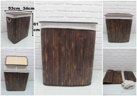 - sd33641 katlanır portatif bölmeli kahverengi bambu kirli çamaşır sepeti