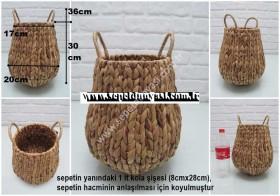- sd33699 dekoratif kulplu hasır sepet (saklama sepeti,vazo vs...)