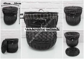 - sd34224 siyah oval no1 kapaklı derin sepet (kirli çamaşır sepeti vs...)