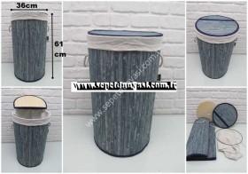 - sd34246 mavi katlanan bambu kapaklı sepet (kirli çamaşır sepeti vs...)