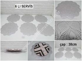 - sd34368 dekoratif 6 lı plastik amerikan servis gümüş renk