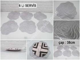 - sd34372 dekoratif 6 lı plastik amerikan servis gümüş renk