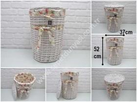 - sd34496 dekoratif no2 kapaklı derin yuvarlak beyaz sepet (depolama,kirli çamaşır vs...)