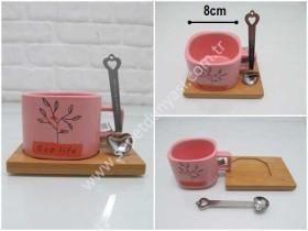- sd34876 bambu tabaklı,kaşıklı seramik kupa
