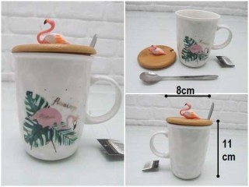- sd34887 flamingo dekorlu bambu kapaklı,kaşıklı seramik kupa