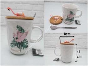- sd34888 flamingo dekorlu bambu kapaklı,kaşıklı seramik kupa