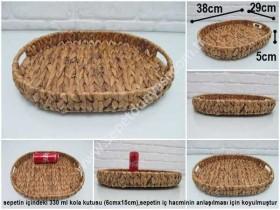- sd35040 dekoratif no2 oval sığ hasır sepet tepsi