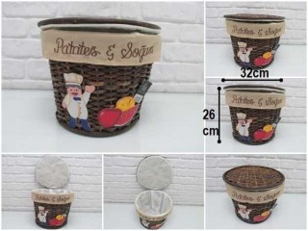 - sd35222 aşçı figürlü yuvarlak kapaklı patates soğan sepeti