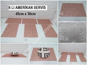 - sd35473 dikdörtgen bakır rengi plastik amerikan servis 6 lı set