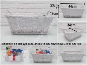 - sd35535 dekoratif organizer beyaz dikdörtgen sele sepet